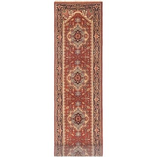 ECARPETGALLERY Hand-knotted Serapi Heritage Dark Copper Wool Rug - 2'7 x 15'8