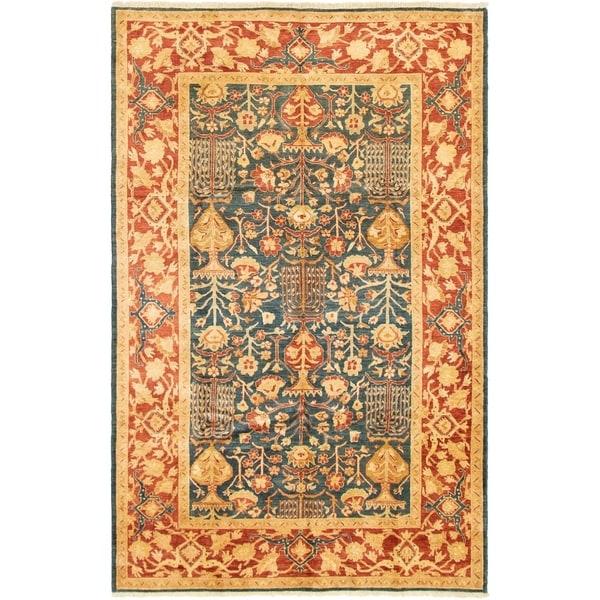 ECARPETGALLERY Hand-knotted Chobi Finest Dark Blue Wool Rug - 6'2 x 9'8