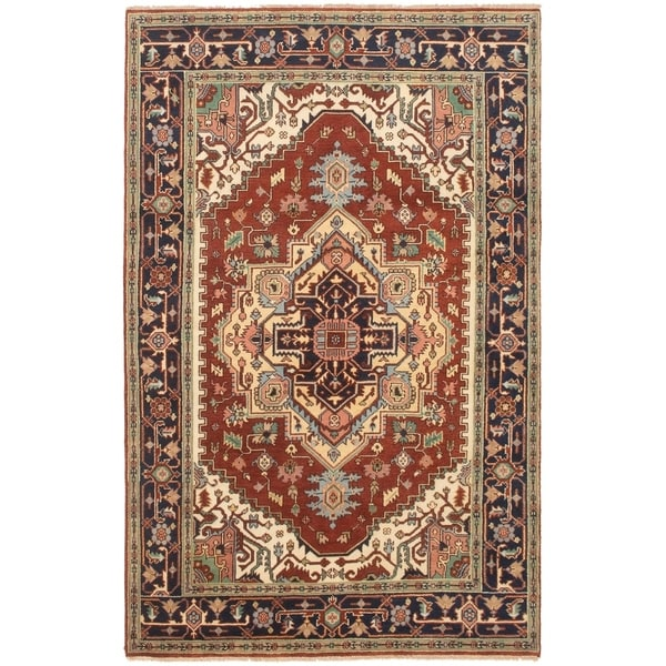 ECARPETGALLERY Hand-knotted Serapi Heritage Brown, Blue, Wool Rug - 5'9 x 9'1