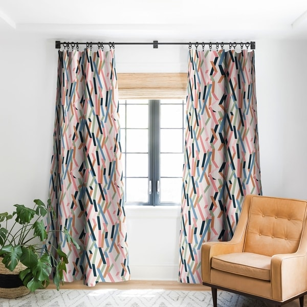 "Mareike Boehmer Straight Geometry Ribbons 1 Blackout Curtain Panel 84"" (As Is Item)"