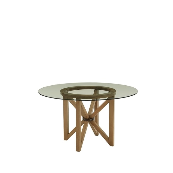 Progressive Serenity Brown Wood Finish and Glass Top Dining Table