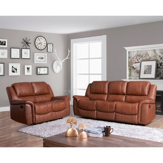 Copper Grove Forbach Top-grain Sofa and Loveseat Reclining Set