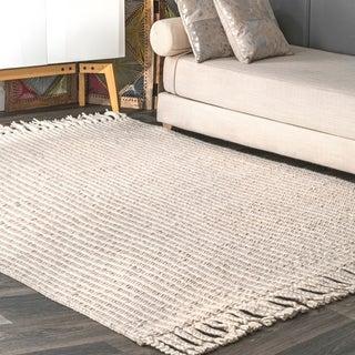 nuLOOM Flatwoven Casual Braided Romanus Wool Area Rug with Tassels