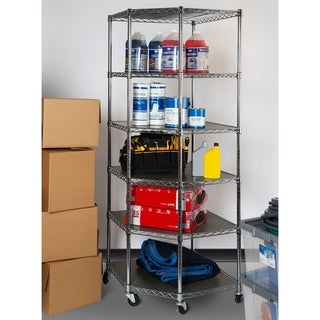 Seville Classics 28 in. W X 28 in. D X 72 in. H UltraDurable Commercial-Grade 6 Tier NSF Corner Steel Wire Shelving With Wheels
