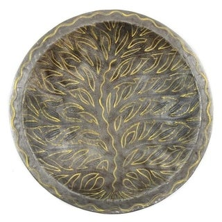 The Curated Nomad Handmade 14-inch Recycled Steel Decorative Bowl with Tree of Life