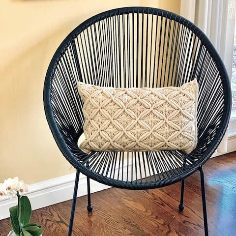 The Curated Nomad Beige Macrame Cushion Cover
