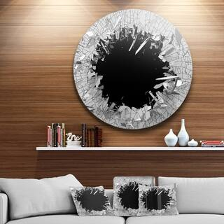 Strick & Bolton 'Abstract Broken Wall 3D Design' Round Metal Wall Art