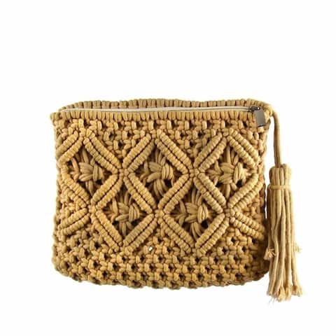 Handmade Tan Macrame Clutch with Tassel