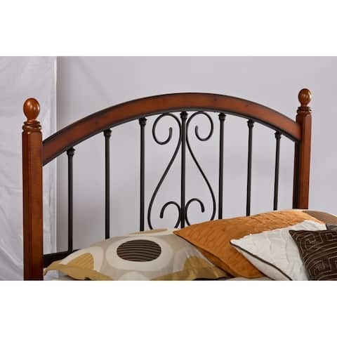Copper Grove Vyshhorod Cherry-finished Wood and Metal Headboard with Rails