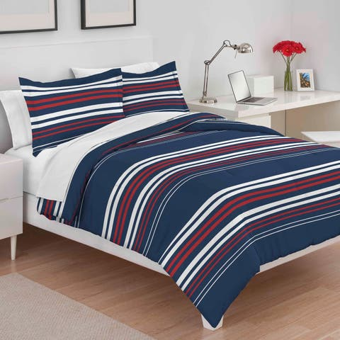 Utica Americana Stripe Red/White/Blue Comforter Set