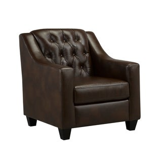 Link to Keighley Top Grain Leather Armchair with Button Tufting Similar Items in Living Room Chairs