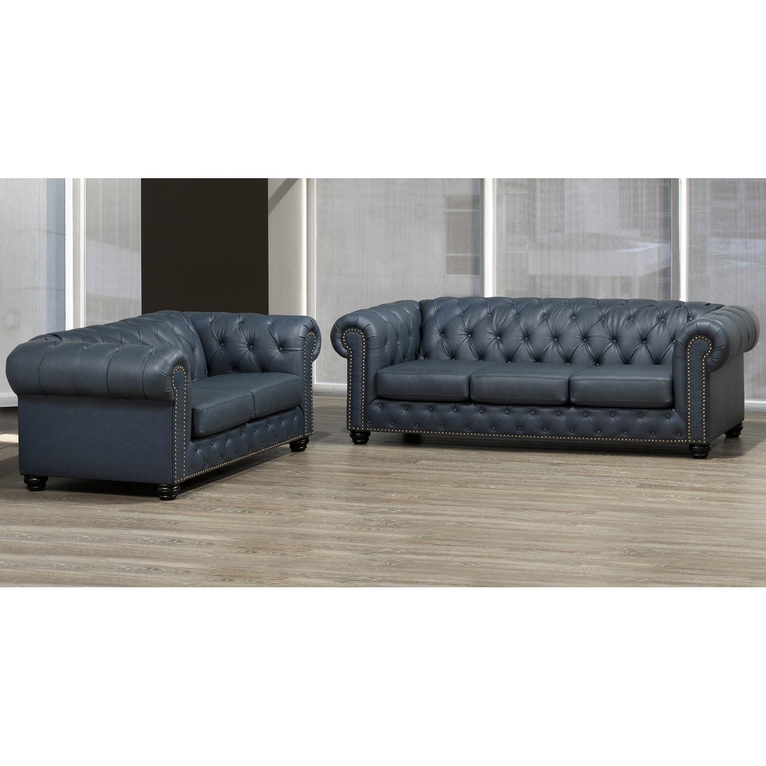 Wigan Top Grain Leather Sofa and Loveseat Set