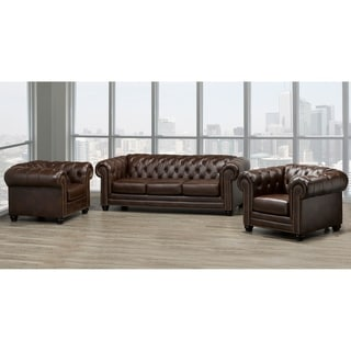Maryport Top Grain Leather Sofa and Two Chair Set