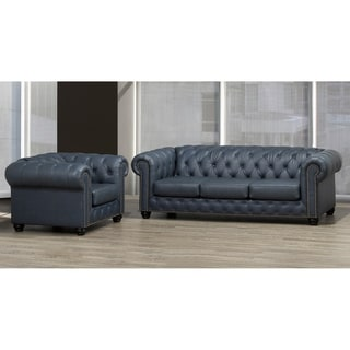 Wigan Top Grain Leather Sofa and Armchair Set