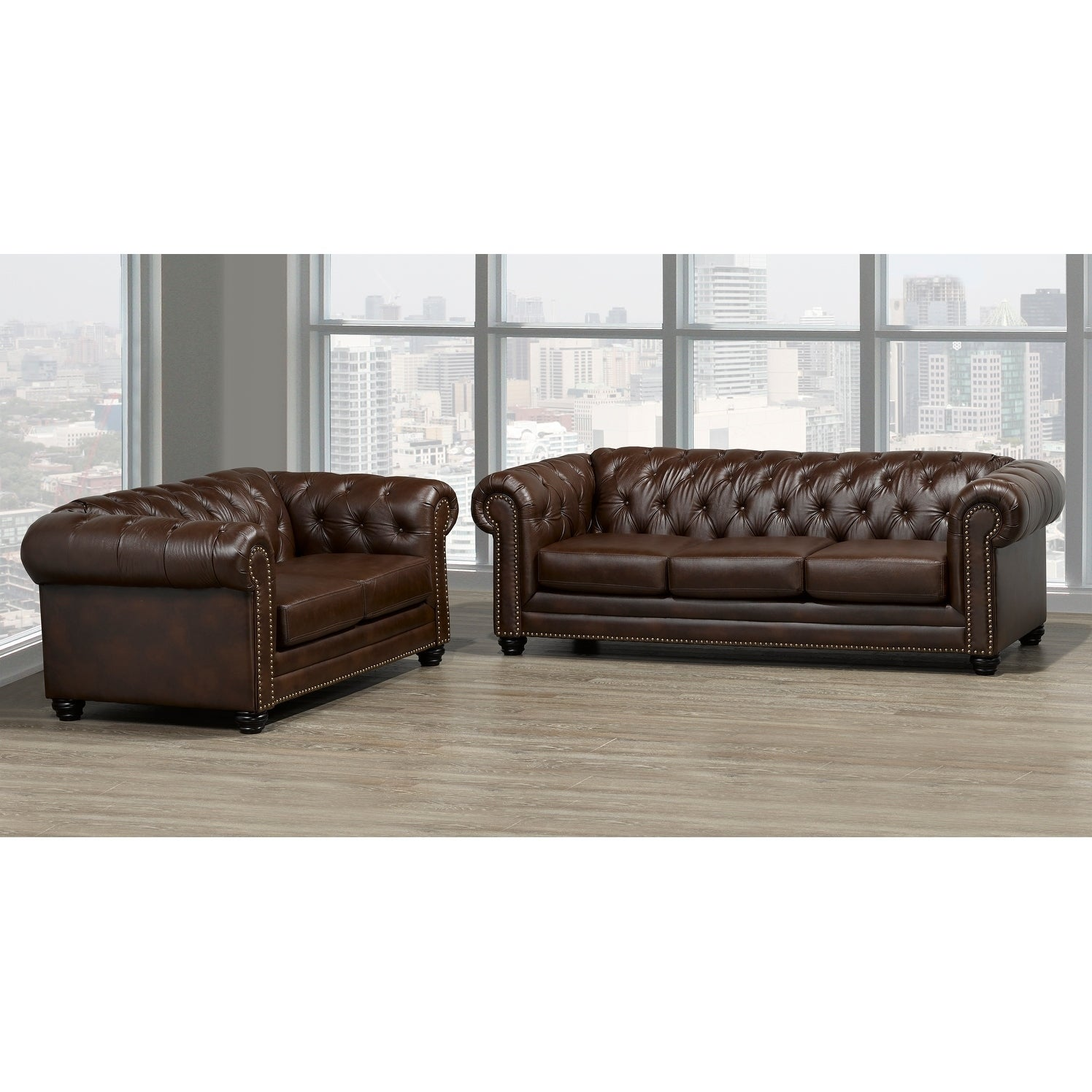 Maryport Top Grain Leather Sofa And Loveseat Set