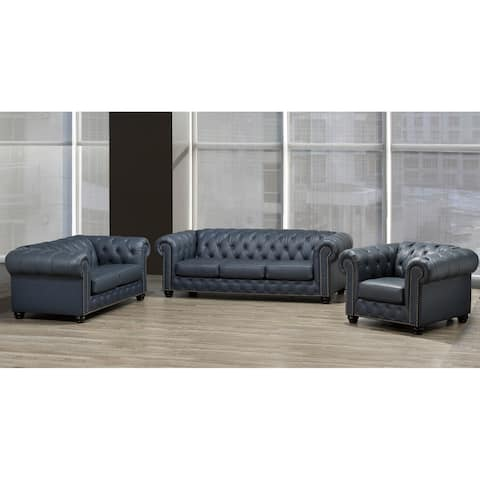 Wigan Top Grain Leather Sofa, Loveseat and Armchair Set