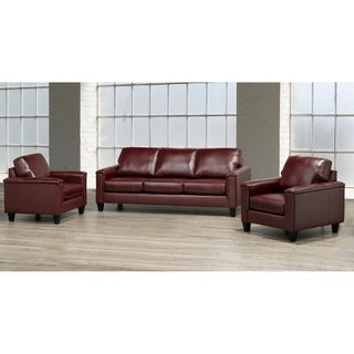 Auckland Top Grain Leather Sofa and Two Chair Set