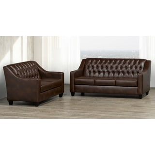 Keighley Top Grain Leather Sofa and Loveseat Set