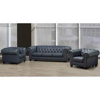 Wigan Top Grain Leather Sofa and Two Chair Set