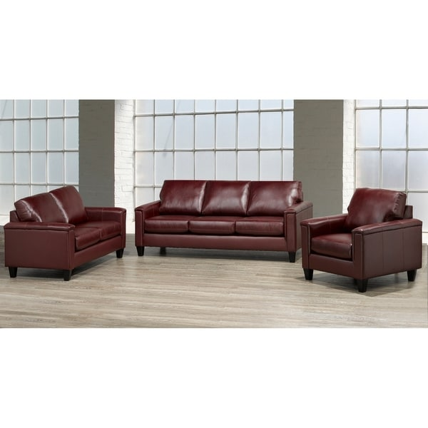 Auckland Top Grain Leather Sofa, Loveseat and Armchair Set