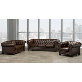 Maryport Top Grain Leather Sofa, Loveseat and Armchair Set