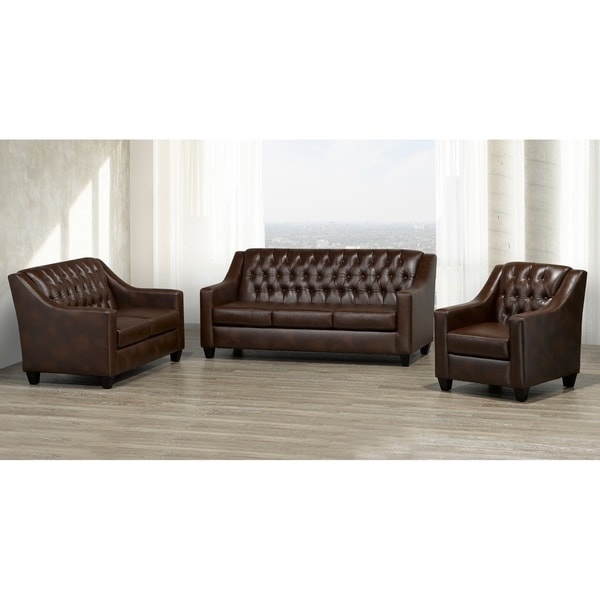 Keighley Top Grain Leather Sofa, Loveseat and Armchair Set