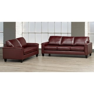 Auckland Top Grain Leather Sofa and Loveseat Set