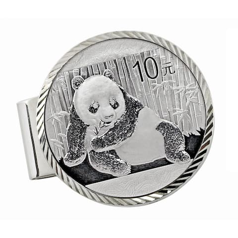 Sterling Silver Diamond Cut Money Clip with Silver Panda Coin