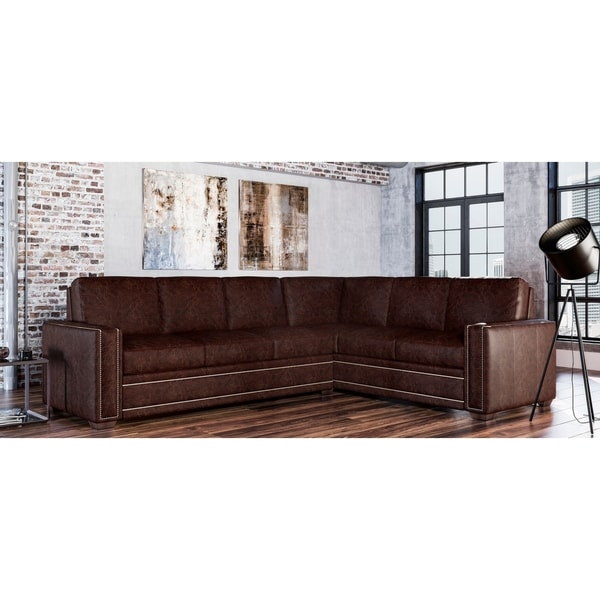 Evelyn Genuine Leather Left Facing Sectional. Opens flyout.