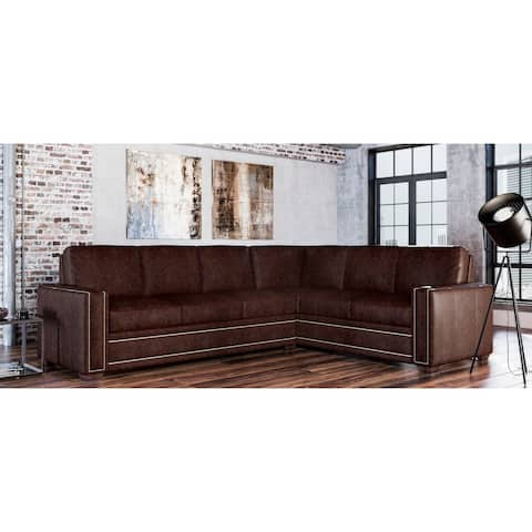 Evelyn Genuine Leather Left Facing Sectional