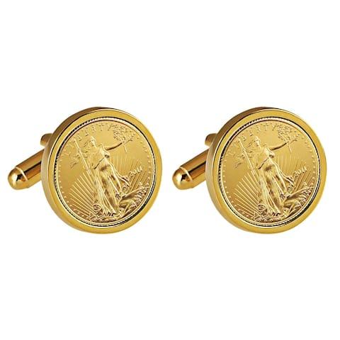 St Gaudens Design Replica American Eagle Coin Goldtone Cufflinks