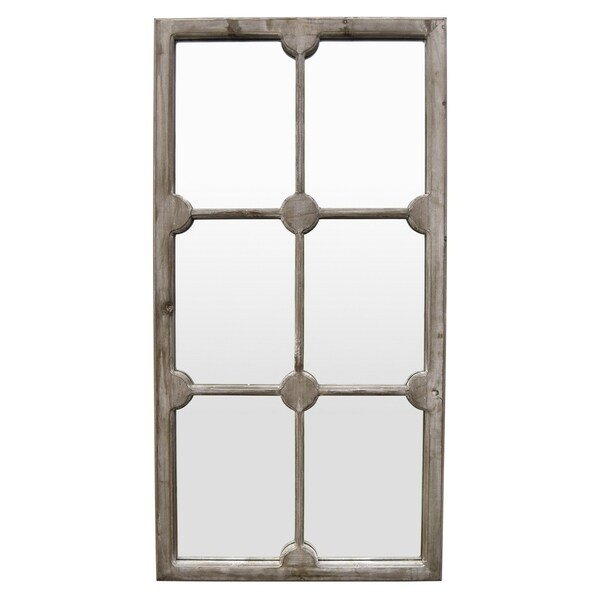 """46"""" Wood Wall Mirror Decoration in Gray - Grey/Brown"""