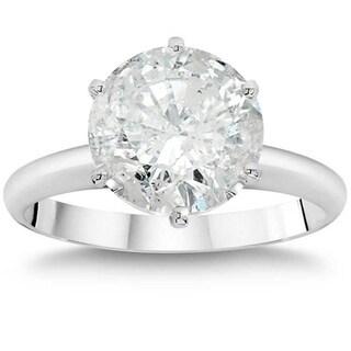 Pompeii3 14k White Gold 2 1/4 Ct TDW Solitaire Diamond Engagement Ring 14k White Gold Clarity Enhanced