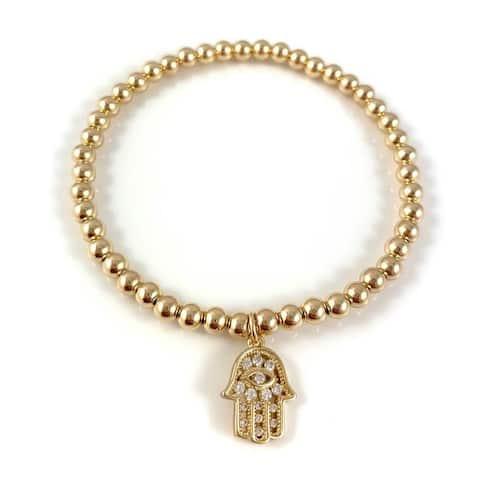 "Handmade Cubic Zirconia Hamsa Charm Gold Bead Stretch Bracelet 7"" Rebecca Cherry"