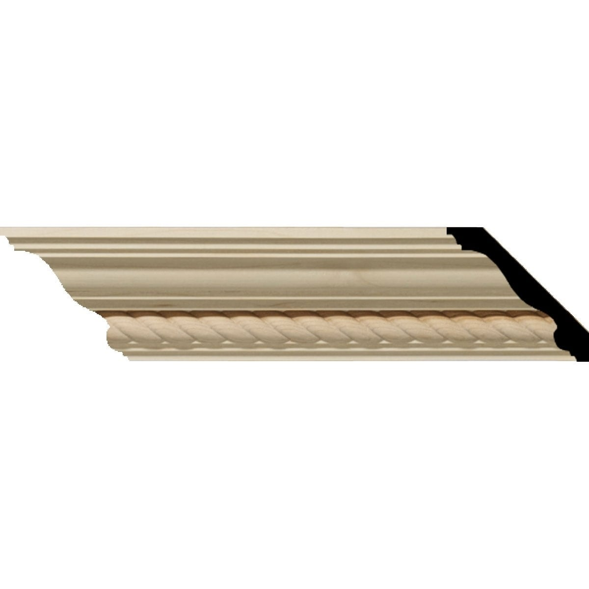 3 1/2H x 3 5/8P x 5F x 94 1/2L Andrea Wood Crown Moulding, Alder (Alder - 2-Pack)