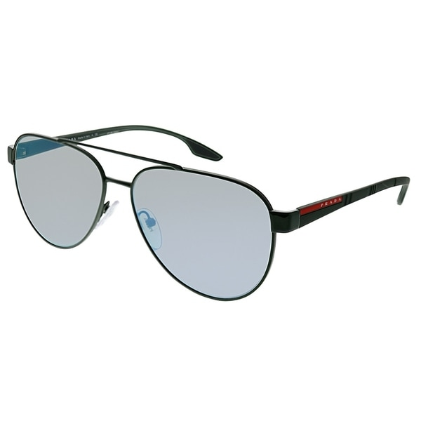 58b43f87d710 Prada Linea Rossa Lifestyle Unisex Green Frame Grey Mirror Milky Blue Lens  Sunglasses