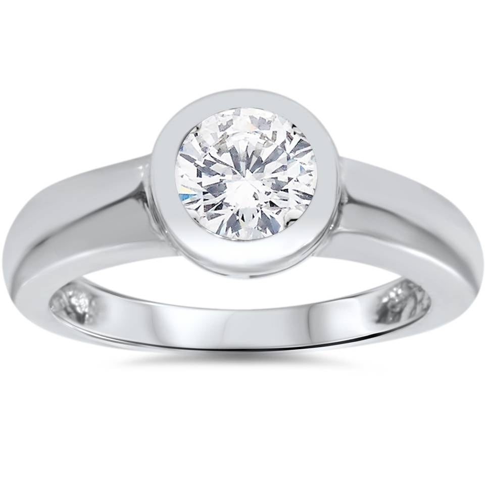 Shop Pompeii3 14k White Gold 1 Ct Tdw Solitaire Bezel Round Diamond Engagement Ring Clarity Enhanced On Sale Overstock 28095983