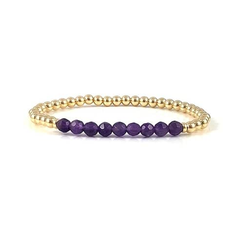 "Handmade Amethyst Gemstone Bead Gold Bead Stretch Bracelets 7"" Rebecca Cherry"