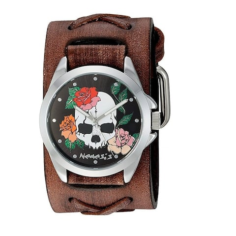 Nemesis 'Skull and Rose's Watch with Faded X Leather Cuff Band BFXB933K