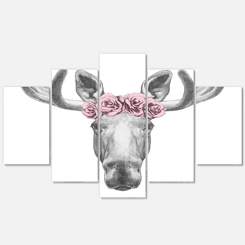 Silver Orchid 'Moose with Floral Head Wreath' Moose Glossy Metal Wall Art
