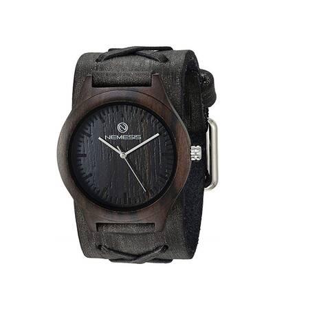 Nemesis 'Jayden' Dark Wood Case Watch with Vintage Leather cuff band KFXB060K