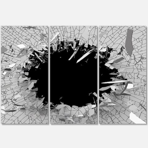 Strick & Bolton 'Abstract Broken Wall 3D Design' 3-panel Metal Wall Art