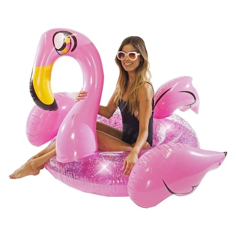 "Glitter Animals Pool Tube 48"" - Glitter Flamingo"