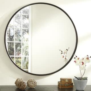 Copper Grove Encamp 36-inch Round Framed Wall Mirror