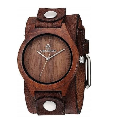 Nemesis 'Jayden' Dark Wood Case Watch with Vintage Leather cuff band BFBN260B
