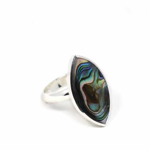 Ring: Abalone and SIlver Ellipse
