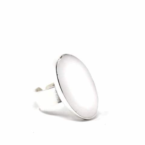 Mexican Taxco Silver Ring, Oval Mother of Pearl