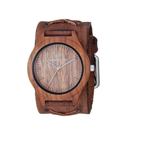 Nemesis 'Jayden' Dark Wood Case Watch with Vintage Leather cuff band BFXB260B