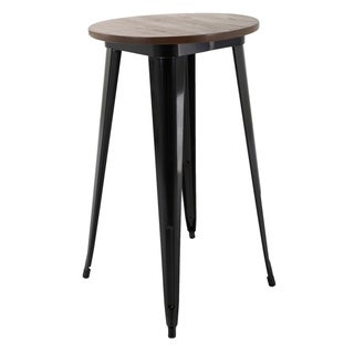 """Brage Living 42"""" Round Metal Dining Table With Wood Top"""