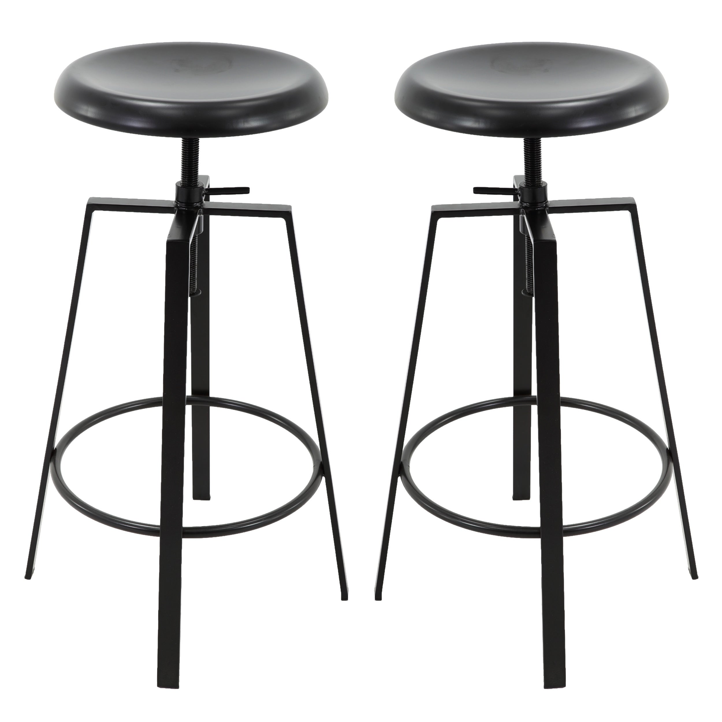 Surprising Backless Round Seat Adjustable Height Swivel Bar Stools Set Of 2 Black Machost Co Dining Chair Design Ideas Machostcouk